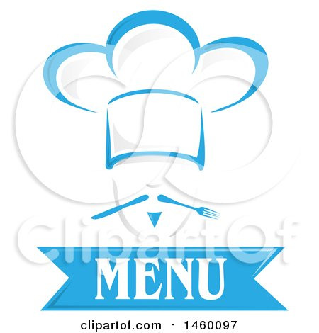 Clipart of a Blue Chef Face Wearing a Toque over Menu Text, with Cutlery Mustach - Royalty Free Vector Illustration by Domenico Condello