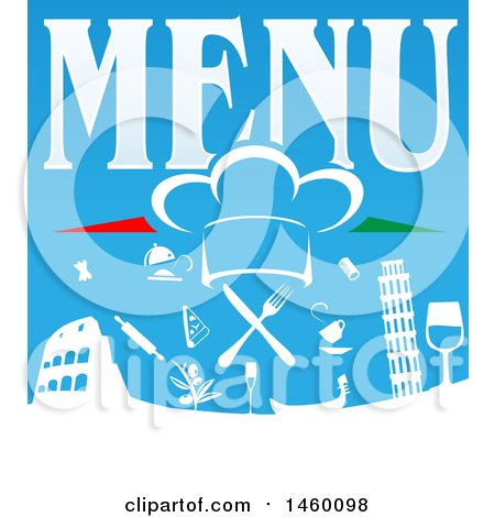 Clipart of a Chef Hat and Food Icons over the Leaning Tower of Pisa and Coliseum with Menu Text - Royalty Free Vector Illustration by Domenico Condello
