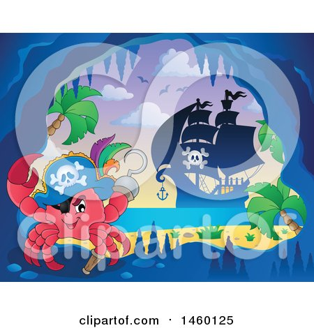 Clipart of a Crab in a Cave with a View of a Pirate Ship - Royalty Free Vector Illustration by visekart