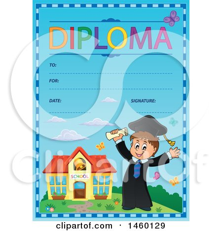 Clipart of a Diploma Template with a Graduate Boy - Royalty Free Vector Illustration by visekart