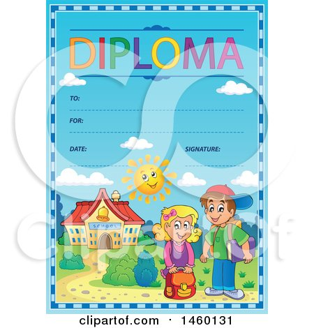 Clipart of a Diploma Template with Children - Royalty Free Vector Illustration by visekart