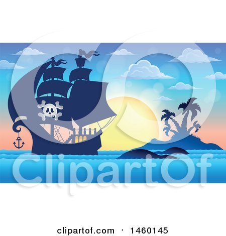 Clipart of a Pirate Ship near an Island at Sunset - Royalty Free Vector Illustration by visekart