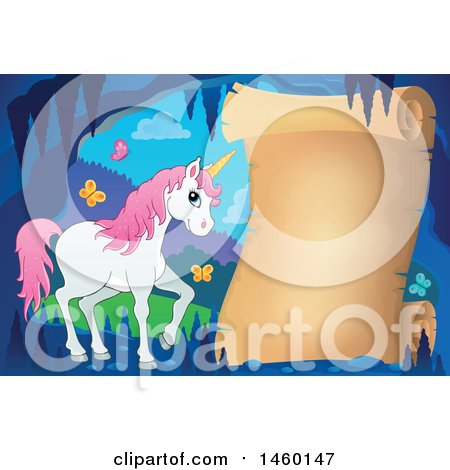 Clipart of a Parchment Scroll in a Cave with a Unicorn - Royalty Free Vector Illustration by visekart