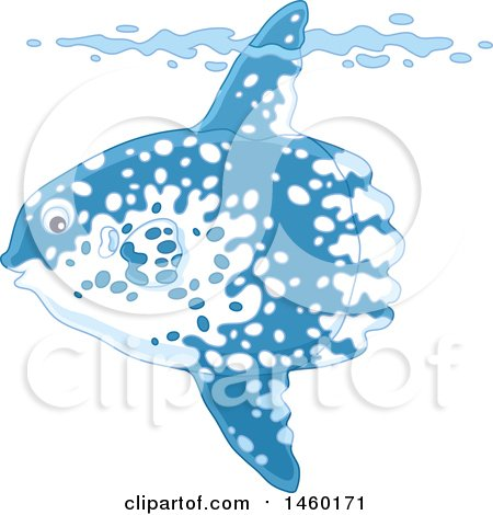 Clipart of a Moonfish Underwater with His Top Fin Sticking out of a Wave - Royalty Free Vector Illustration by Alex Bannykh