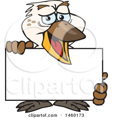 Clipart of a Kookaburra Bird Holding a Blank Sign Board - Royalty Free Vector Illustration by Dennis Holmes Designs