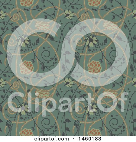 Clipart of a Background of Medieval Flowers - Royalty Free Vector Illustration by Frisko