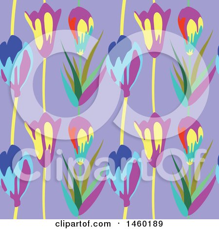 Clipart of a Background of Tulip Flowers - Royalty Free Vector Illustration by Frisko