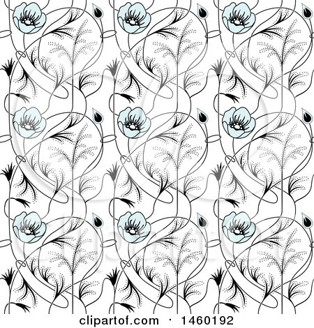 Clipart of a Background of Art Nouveau Flowers - Royalty Free Vector Illustration by Frisko