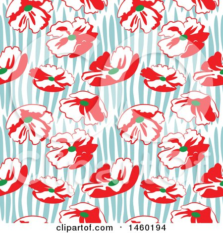 Clipart of a Background of Poppy Flowers - Royalty Free Vector Illustration by Frisko