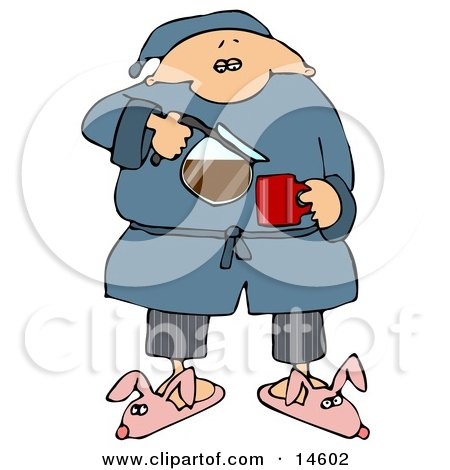 Sleepy Man In Pjs And Bunny Slippers, Pouring Himself A Cup Of Fresh, Hot Coffee In The Morning  Posters, Art Prints
