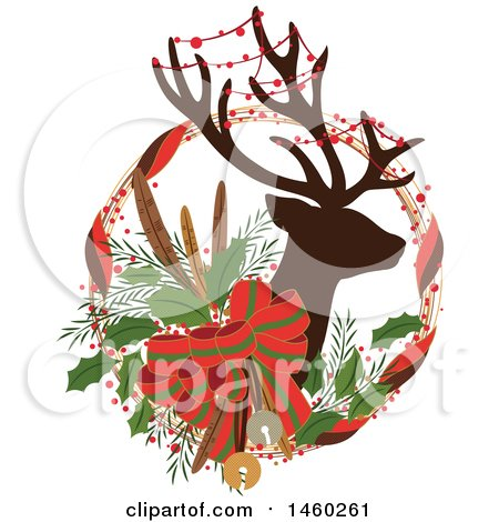 Clipart of a Silhouetted Christmas Reindeer with Decor in a Wreath - Royalty Free Vector Illustration by Cherie Reve