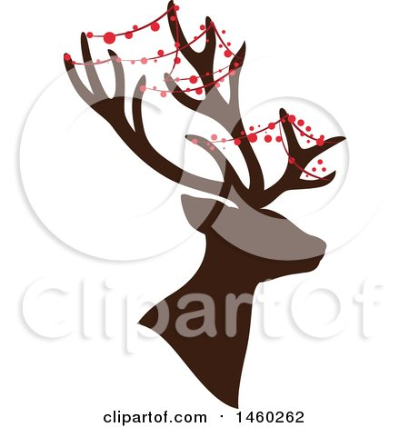 Clipart of a Silhouetted Christmas Reindeer with Decor - Royalty Free Vector Illustration by Cherie Reve