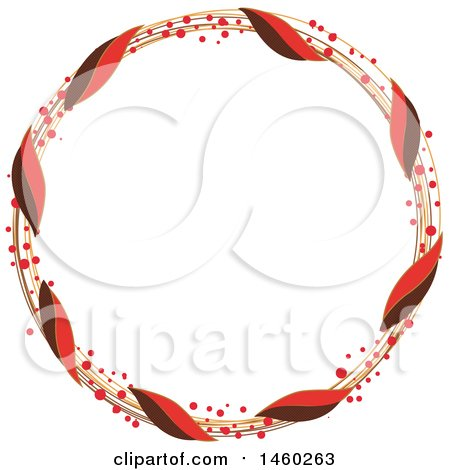 Clipart of a Round Christmas Wreath - Royalty Free Vector Illustration by Cherie Reve