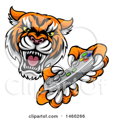 Clipart of a Tiger Mascot Playing a Video Game - Royalty Free Vector Illustration by AtStockIllustration