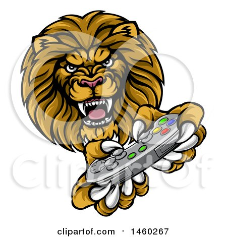 Clipart of a Male Lion Playing a Video Game - Royalty Free Vector Illustration by AtStockIllustration