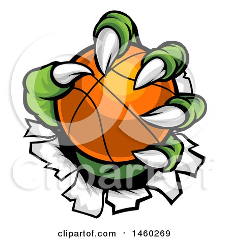 Clipart of a Green Monster Claws Ripping Through Metal with a Basketball - Royalty Free Vector Illustration by AtStockIllustration