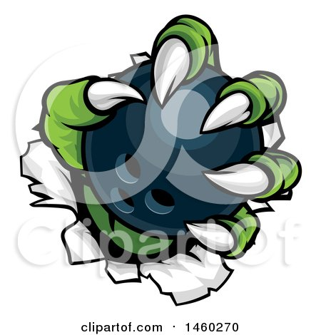 Clipart of Green Monster Claws Ripping Through Metal with a Bowling Ball - Royalty Free Vector Illustration by AtStockIllustration