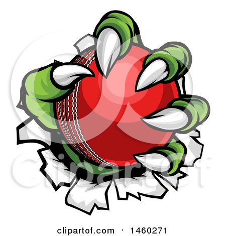 Clipart of a Green Monster Claws Ripping Through Metal with a Cricket Ball - Royalty Free Vector Illustration by AtStockIllustration