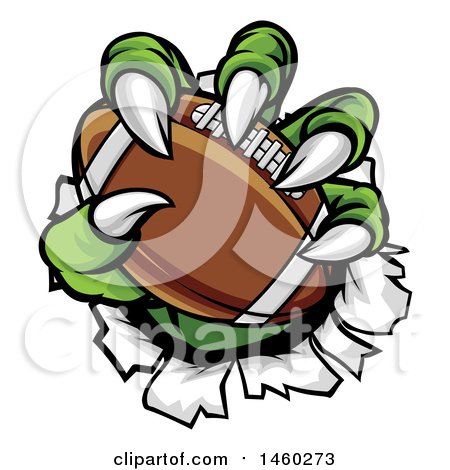 Clipart of a Green Monster Claws Ripping Through Metal with a Football - Royalty Free Vector Illustration by AtStockIllustration