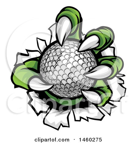 Clipart of a Green Monster Claws Ripping Through Metal with a Golf Ball - Royalty Free Vector Illustration by AtStockIllustration