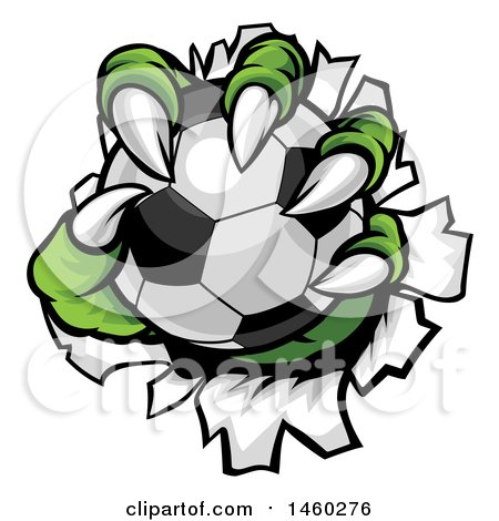 Clipart of a Green Monster Claws Ripping Through Metal with a Soccer Ball - Royalty Free Vector Illustration by AtStockIllustration