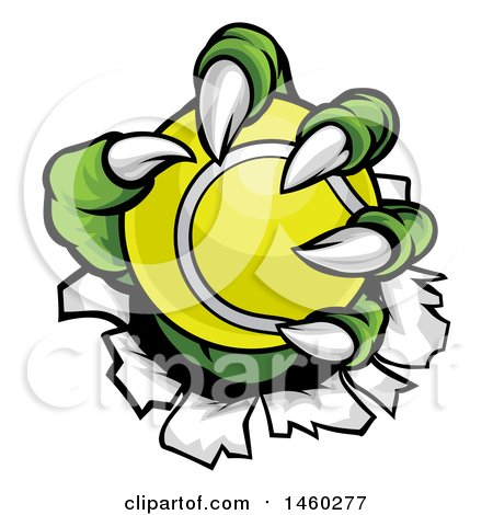 Clipart of a Green Monster Claws Ripping Through Metal with a Tennis Ball - Royalty Free Vector Illustration by AtStockIllustration