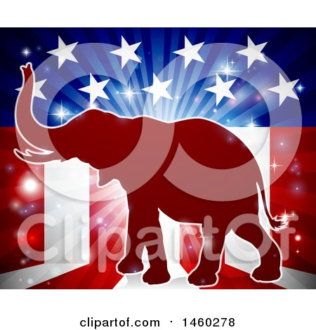 Clipart of a Red Silhouette of a Republican Elephant over an American Flag Themed Burst - Royalty Free Vector Illustration by AtStockIllustration