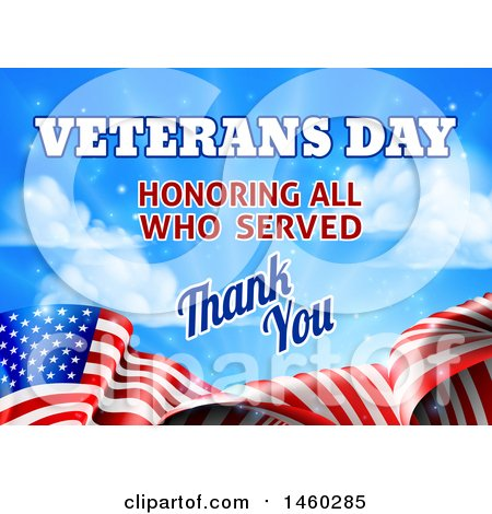 Clipart of a 3d Waving American Flag with Veterans Day Honoring All Who Served Thank You Text and Blue Sky - Royalty Free Vector Illustration by AtStockIllustration