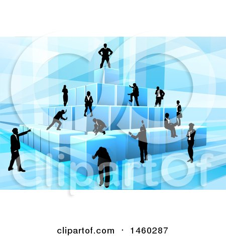 Clipart of a Team of Silhouetted Business Men and Women Assembling a Pyramid of 3d Blue Cubes, on Blue - Royalty Free Vector Illustration by AtStockIllustration