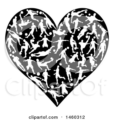 Clipart of a Heart Made of White Silhouetted Soccer Players in Action - Royalty Free Vector Illustration by AtStockIllustration