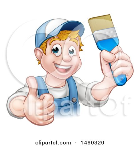 Cartoon Happy White Male Painter Holding up a Brush and Giving a Thumb up Posters, Art Prints