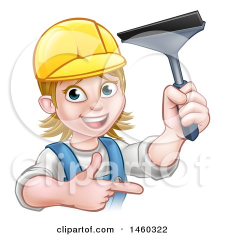 Clipart of a Cartoon Happy White Female Window Cleaner in Blue, Pointing and Holding a Squeegee - Royalty Free Vector Illustration by AtStockIllustration