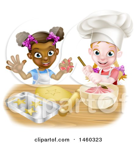 Clipart of Cartoon Happy White and Black Girls Making Pink Frosting and Star Shaped Cookies - Royalty Free Vector Illustration by AtStockIllustration