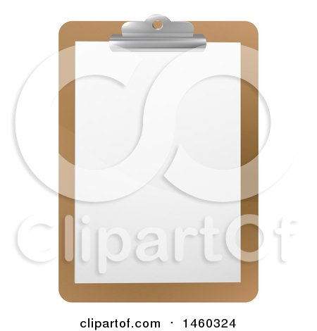 Clipart of a Blank Sheet of Paper on a Clipboard - Royalty Free Vector Illustration by AtStockIllustration
