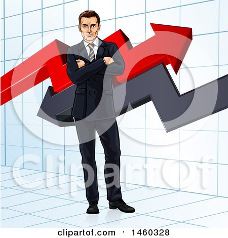 Clipart of a Business Man Standing with Folded Arms in Front of Stock Market Arrows - Royalty Free Vector Illustration by AtStockIllustration