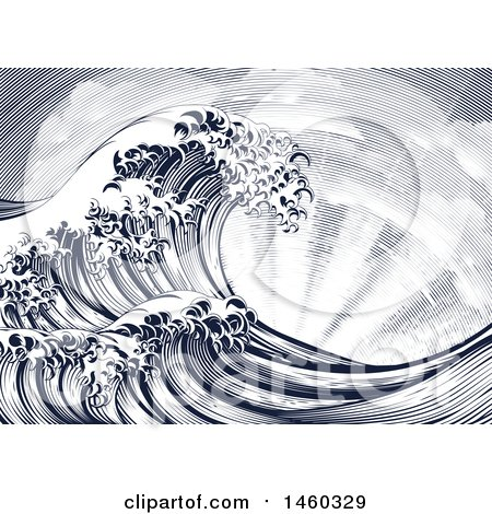 Clipart of a Vintage Styled Japanese Great Wave and Sun Rays - Royalty Free Vector Illustration by AtStockIllustration