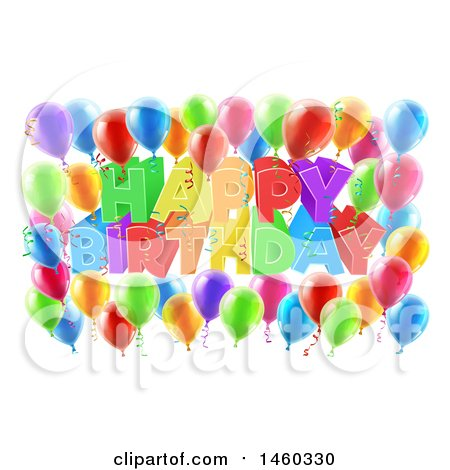 Clipart of a 3d Colorful Happy Birthday Greeting with Confetti Ribbons and Party Balloons - Royalty Free Vector Illustration by AtStockIllustration
