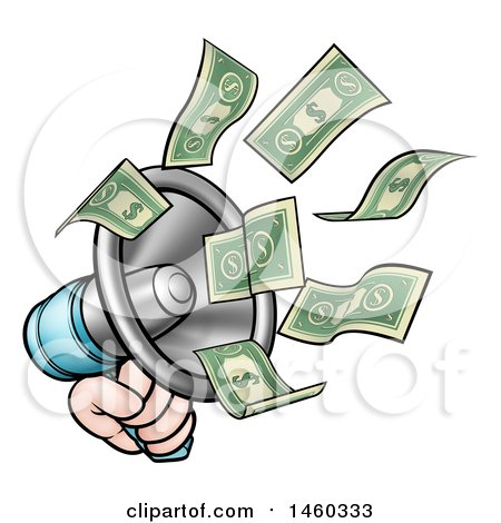 Clipart of a Cartoon Hand with Money Flying out of a Megaphone - Royalty Free Vector Illustration by AtStockIllustration