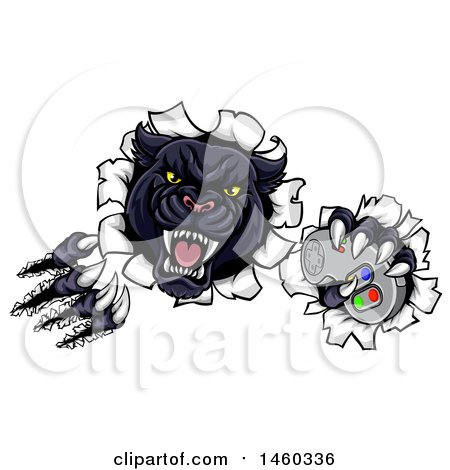 Clipart of a Vicious Black Panther Shredding Through a Wall with a Video Game Controller in One Paw - Royalty Free Vector Illustration by AtStockIllustration