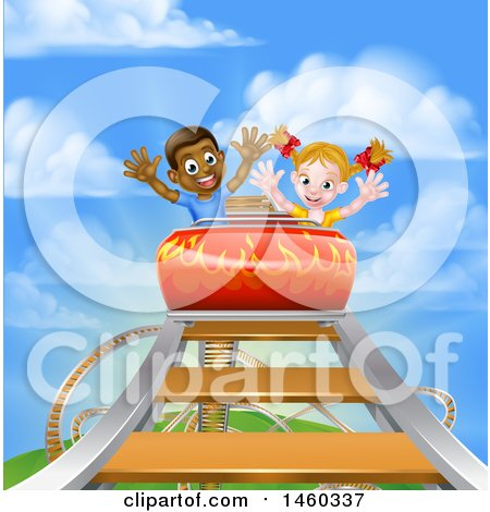 Clipart of a Happy White Girl and Black Boy at the Top of a Roller Coaster Ride, Against a Blue Sky with Clouds - Royalty Free Vector Illustration by AtStockIllustration