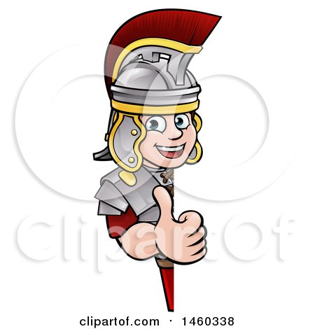 Clipart of a Cartoon Happy Roman Soldier Giving a Thumb up Around a Sign - Royalty Free Vector Illustration by AtStockIllustration