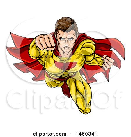 Clipart of a Pop Art Comic Caucaslan Male Super Hero Flying Forward - Royalty Free Vector Illustration by AtStockIllustration