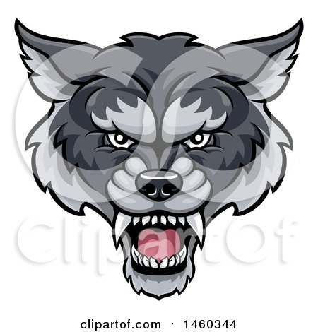 Clipart of a Gray Wolf Mascot Head - Royalty Free Vector Illustration by AtStockIllustration