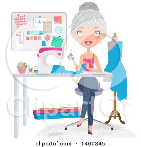 Clipart of a Happy Silver Haired Caucasian Female Fashion Designer Sewing a Dress - Royalty Free Vector Illustration by Melisende Vector