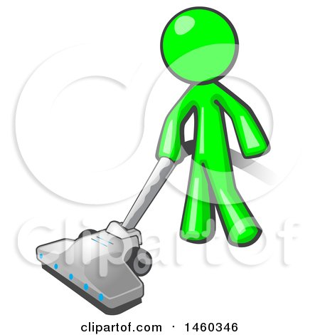 Clipart of a Lime Green Man Cleaning with a Canister Vacuum - Royalty Free Vector Illustration by Leo Blanchette