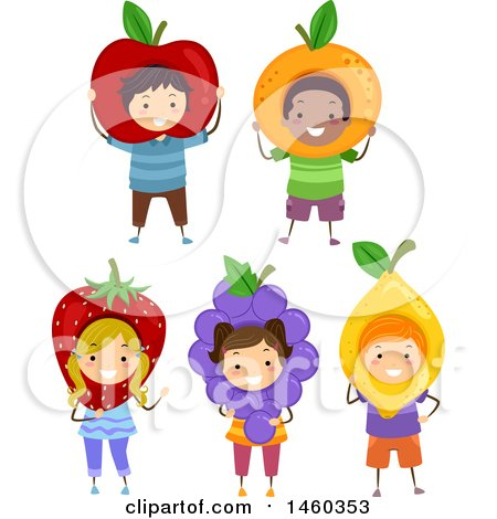 Clipart of a Group of Children in Fruit Costumes - Royalty Free Vector Illustration by BNP Design Studio