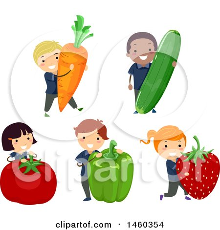 Clipart of a Group of Children with Giant Vegetables and Fruit - Royalty Free Vector Illustration by BNP Design Studio