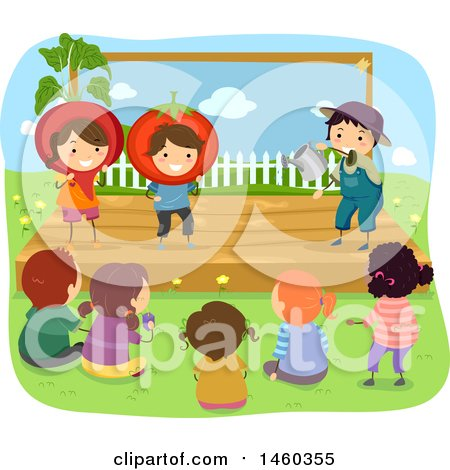 Clipart of a Group of Children Watching a Gardening Play - Royalty Free Vector Illustration by BNP Design Studio