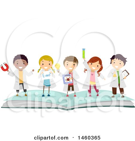 Clipart of a Group of Children in Science Lab Gear, Standing on Top of an Open Book - Royalty Free Vector Illustration by BNP Design Studio