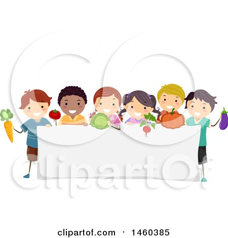 Clipart of a Group of Children with Produce Around a Blank Sign - Royalty Free Vector Illustration by BNP Design Studio